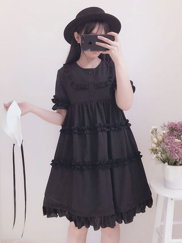 Buy Classic Lolita OP One Piece Dress Round Neck Short Sleeve Ruffles Black Lolita Dress for $67.49 in Milanoo store