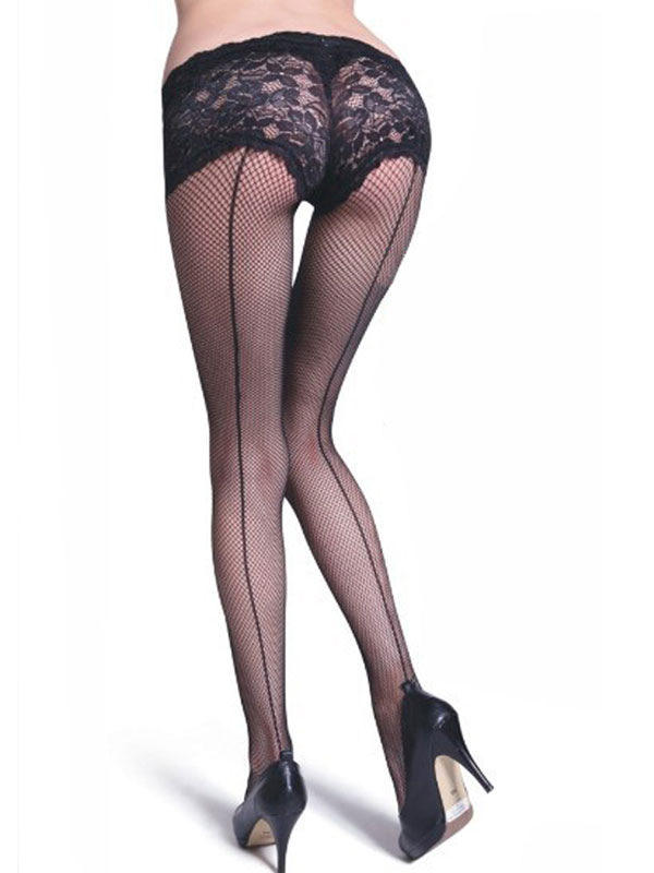 Black Sexy Pantyhose Lace Nets Sheer Tights For Women