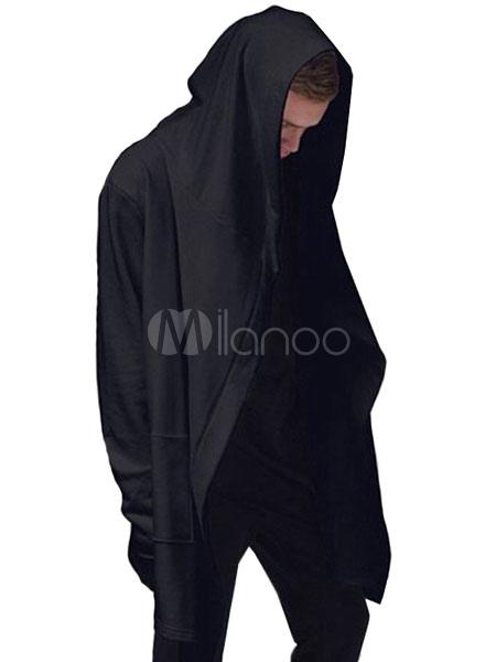 Men Black Hoodie Full Zip Hoodie Long Sleeve Oversized Cotton Sweatshirt
