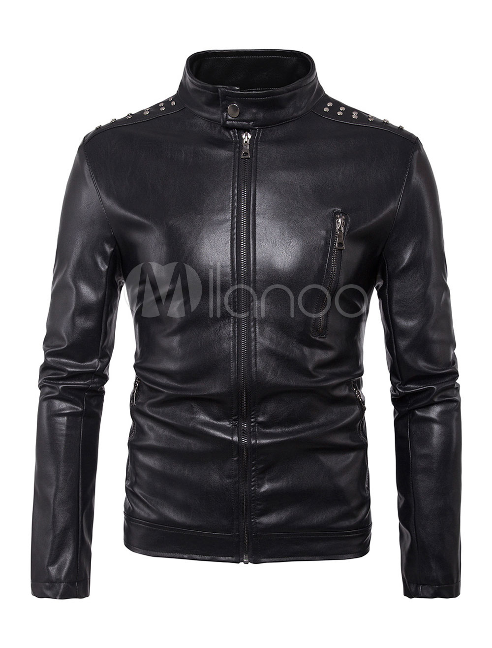 Buy Black Motorcycle Jacket Men Leather Jacket Stand Collar Long Sleeve Zip Up Short Jacket for $53.89 in Milanoo store