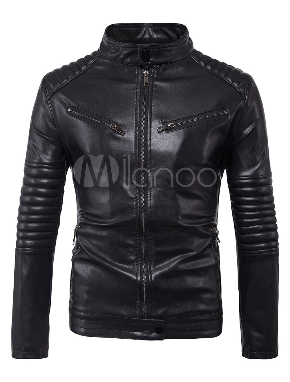 Buy Black Leather Jacket Men Motorcycle Jacket Stand Collar Long Sleeve Spring Jacket for $64.99 in Milanoo store