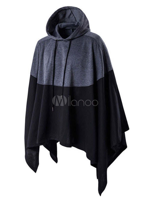Men Black Hoodie Oversized Sweatshirt Drawstring Cotton Poncho