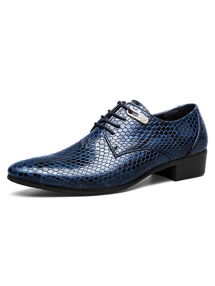 Blue Dress Shoes Pointed Toe Business Casual Shoes Snake Pattern Printed Men Shoes