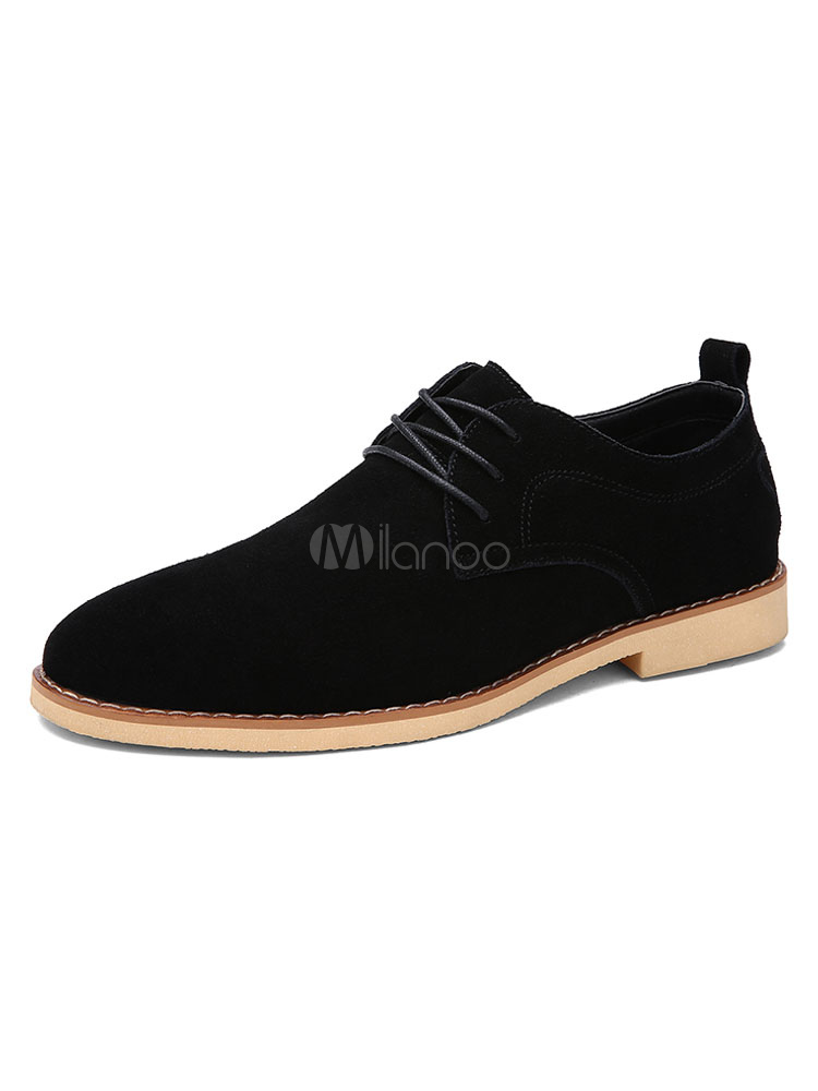 Black Casual Shoes Men Flat Shoes Cowhide Round Toe Lace Up Shoes