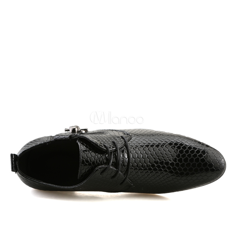 409c1f0a70e26 Men Dress Shoes Black Pointed Toe Snake Pattern Lace Up Elevator Shoes