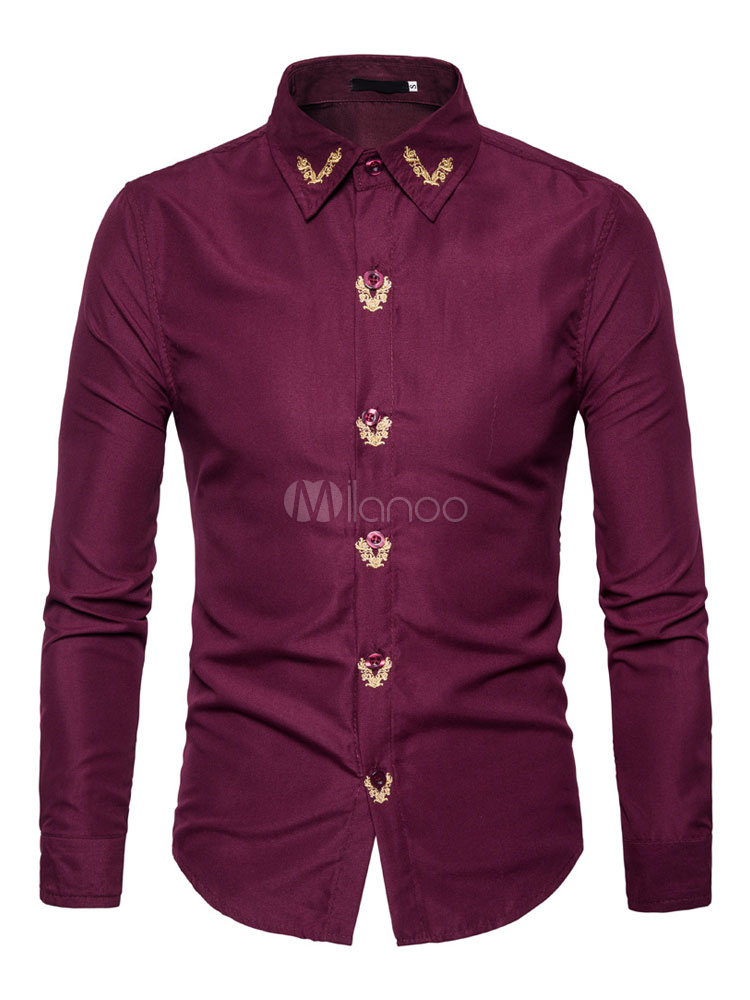 Buy Men Casual Shirt Long Sleeve Shirt Burgundy Turndown Collar Long Sleeve Slim Fit Cotton Shirt for $20.29 in Milanoo store