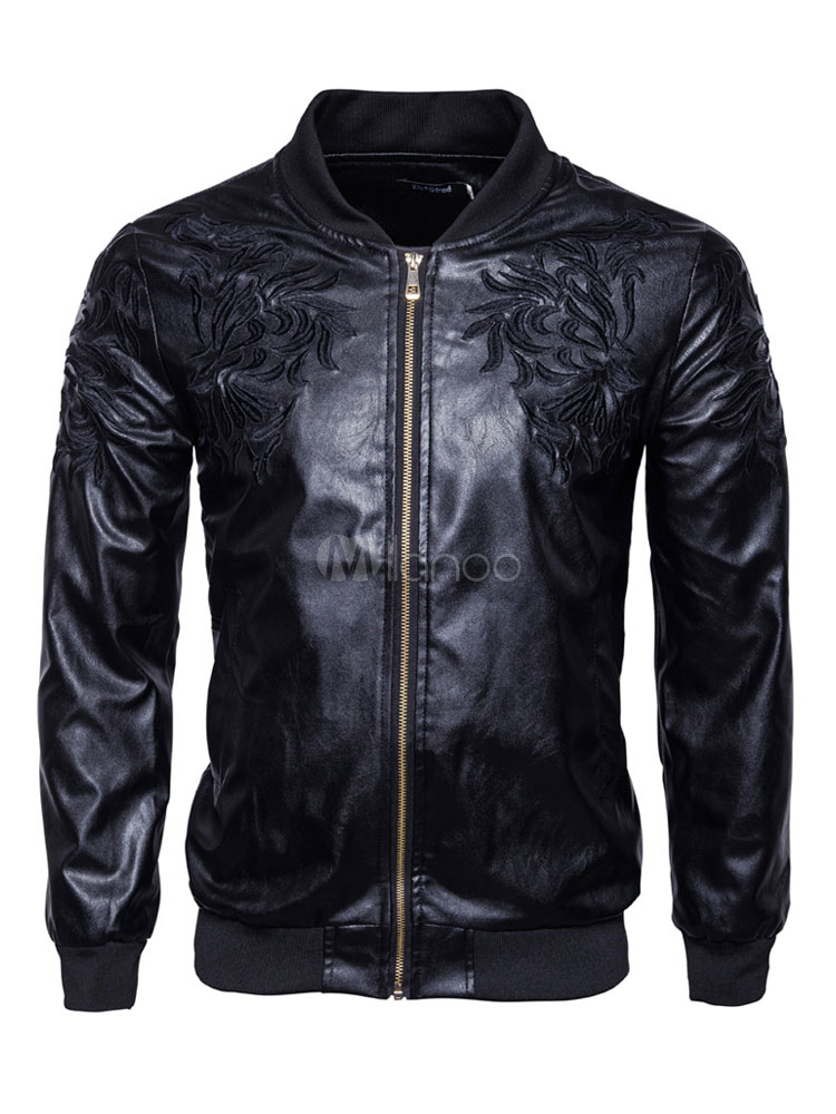 Buy Black Leather Jacket Men Jacket Stand Collar Long Sleeve Embroidered Zip Up Short Jacket for $49.99 in Milanoo store