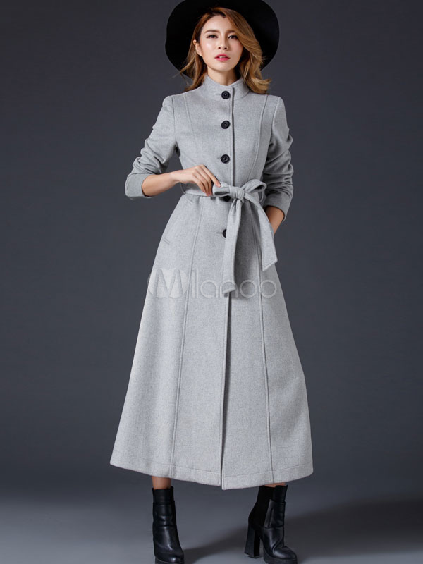 Women Long Coat Winter Long Sleeve Stand Collar Light Grey Sash Maxi Coat