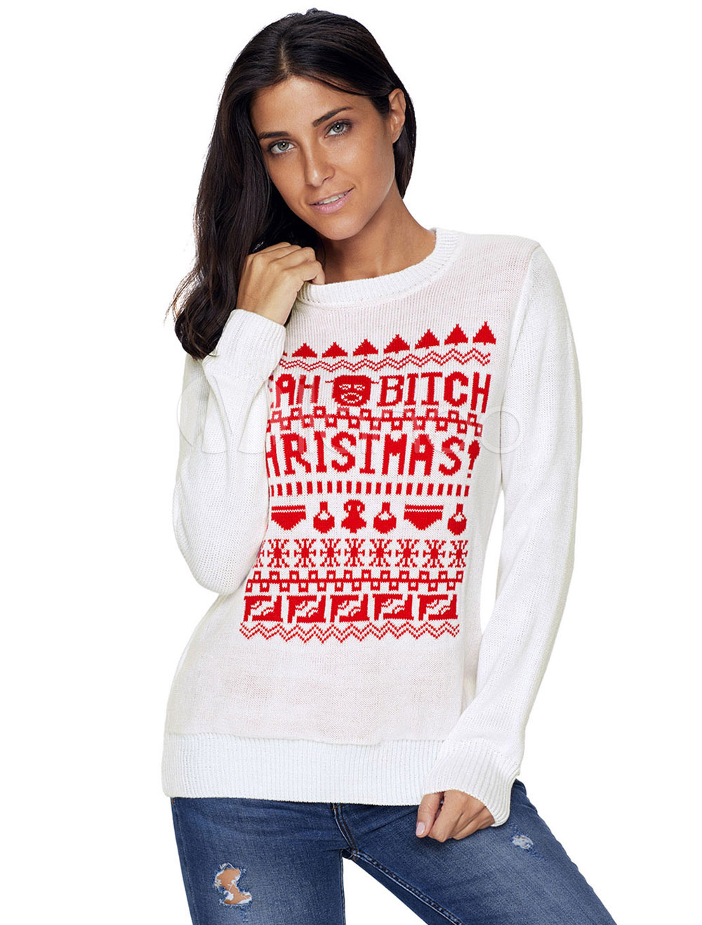 Off White Christmas Hoodie.White Christmas Sweater Long Sleeve Crewneck Knit Top For Women