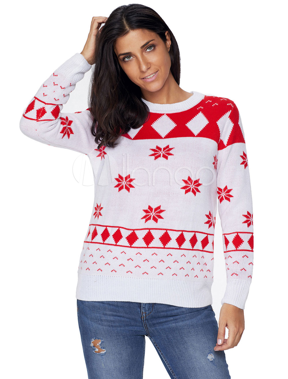 c7cac958a5a3 ... Christmas Long Sleeve Crewneck Geometric Printed Pullover For Women-No.5.  1. 20%OFF. Color:White