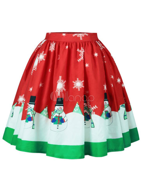 Red Christmas Skirt Snowman Printed Pleated A Line Skirts For Women ...