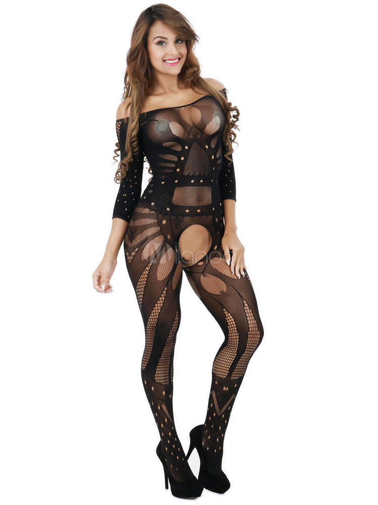 Women Black Bodystocking Cut Out Semi Sheer Off The Shoulder Long Sleeve Lingerie