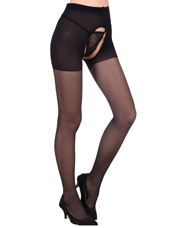 Black Women Bodystocking Crotchless Cut Out Semi Sheer Stocking