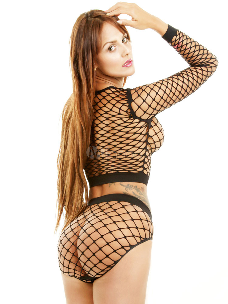 dc909ef2c8 ... Women Clubwear Set Sexy Black Long Sleeve Net Sheer 2 Piece Lingerie-No.3  ...