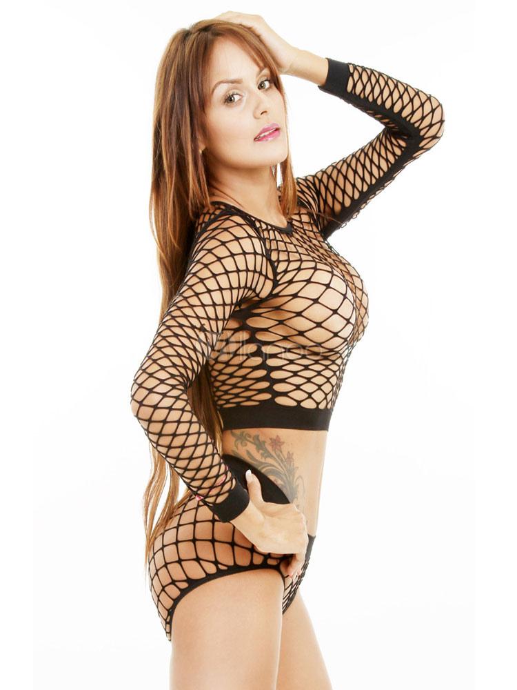 d15b05dc01 ... Women Clubwear Set Sexy Black Long Sleeve Net Sheer 2 Piece Lingerie-No. 2 ...