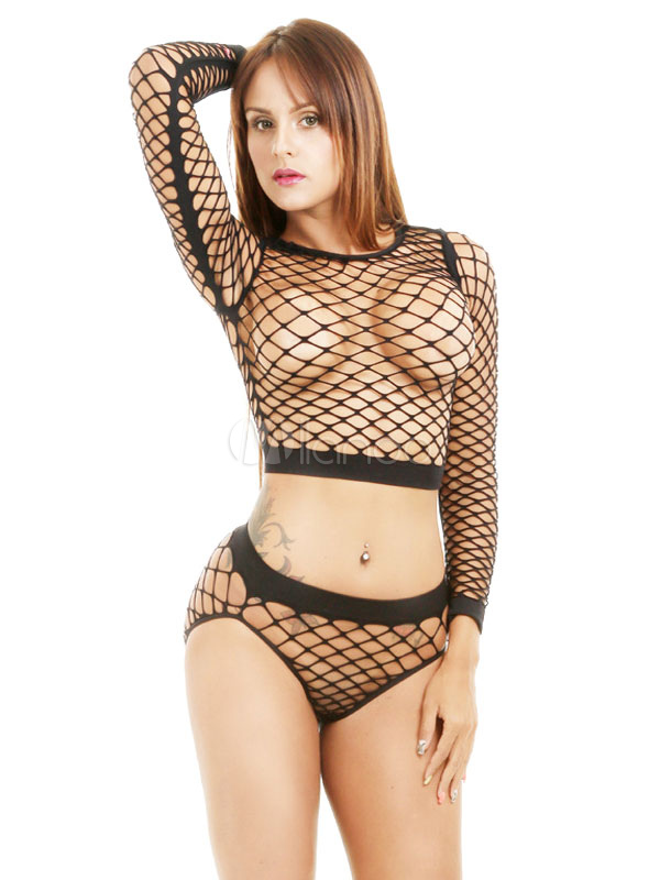 7af9d3e73795 Women Clubwear Set Sexy Black Long Sleeve Net Sheer 2 Piece Lingerie-No.1  ...