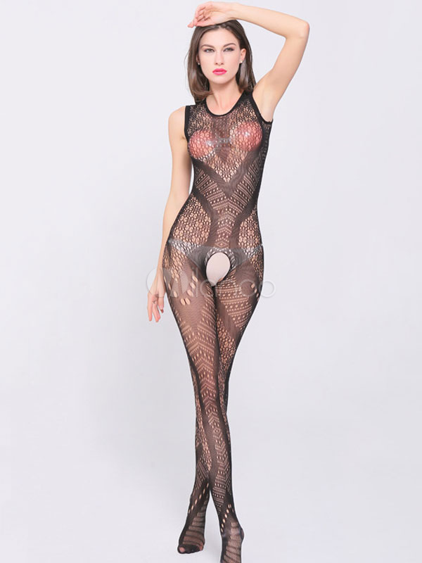 91856e1d13b Black Sexy Bodystockings Sleeveless Semi Sheer Crotchless Hosiery For Women-No.1  ...