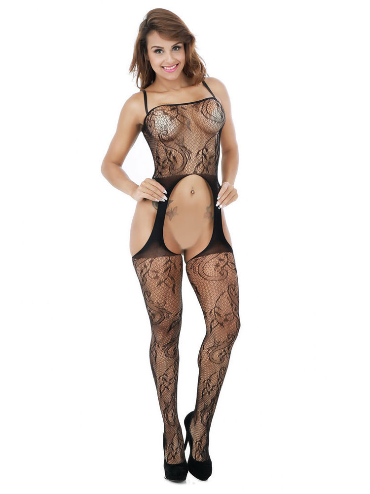 2997d47e1 Women Bodystocking Black Crotchless Cut Out Print Strappy 1 Piece Lingerie -No.1 ...