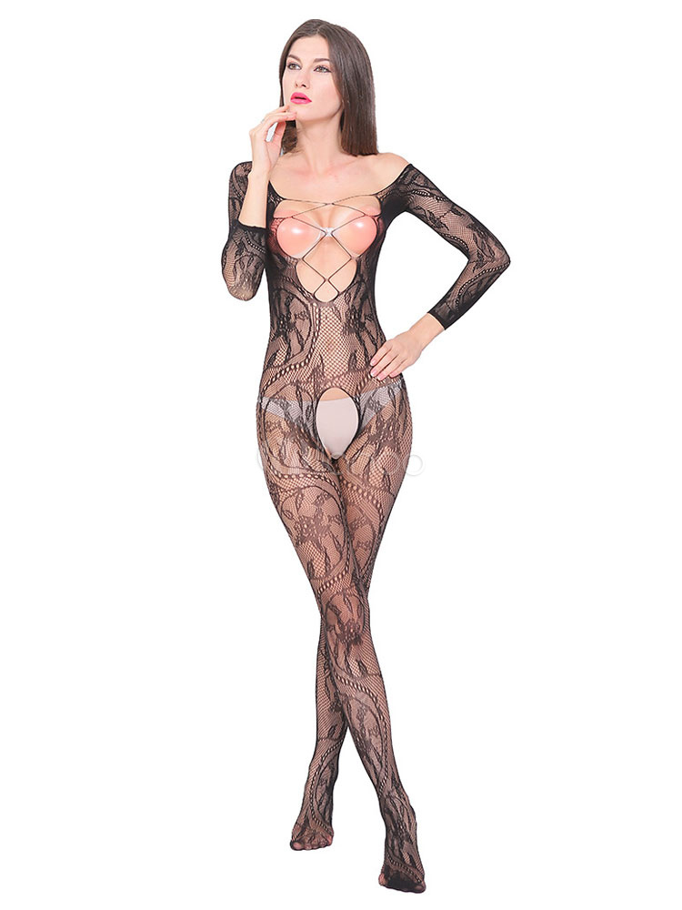 5801ee33880 Women Bodystocking Black Crotchless Criss Cross Backless Sheer 1 Piece  Lingerie-No.1 ...