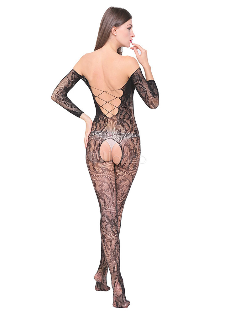 93b07bea7f9 ... Women Bodystocking Black Crotchless Criss Cross Backless Sheer 1 Piece  Lingerie-No.3 ...