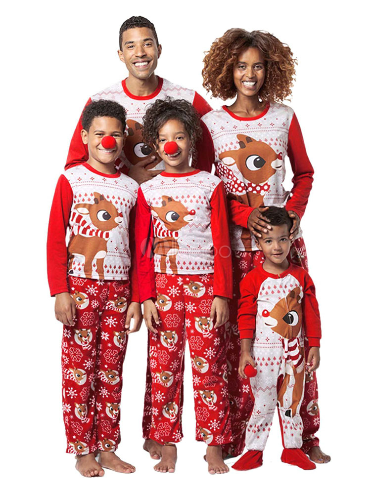 88015e30d9c7 Matching Family Christmas Pajamas For Men Red Pants With Top Morning Pjs-No.1  ...