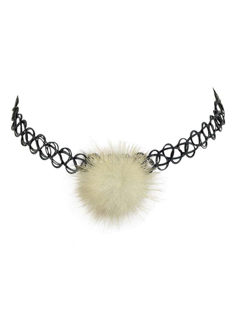 c60948d00272 Collar de cuero sintético con pompón informal estilo modernopara mujer para  pasar por la noche ...