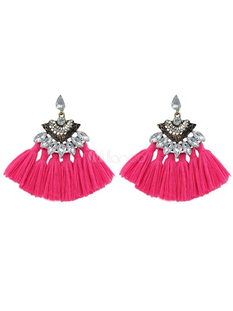 Buy Women Tassel Earring Boho Rhinestone Alloy Vintage Dangle Earring for $3.67 in Milanoo store