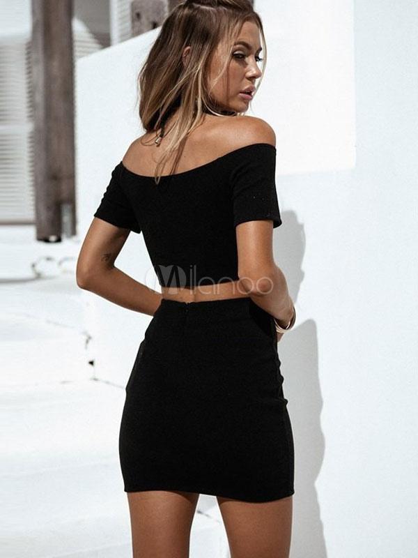 33d4ed6bdcd30c ... Fascinant costume de tenue féminine sexy noir en polyester unicolore  avec lacets street style-No ...