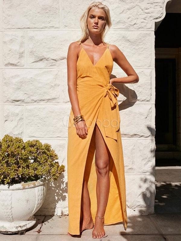 Women Dress Yellow Summer Wrap Dress V Neck Backless High Low Cotton Beach Slip Dress