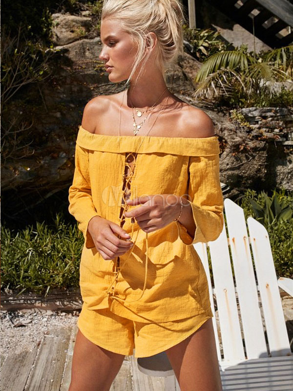 2 Piece Set Women Yellow Off The Shoulder Lace Up Long Sleeve Top With Shorts