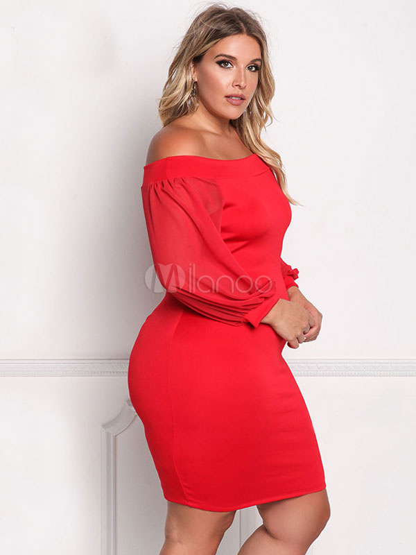 6a6fb090784 Plus Size Dress Red Off The Shoulder Puff Sleeve Bodycon Dress For Women-No.