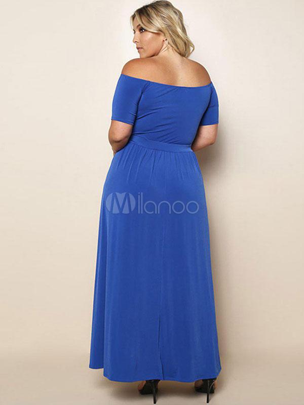 Plus Size Maxi Dress Off The Shoulder Short Sleeve Split Long Dress For  Women