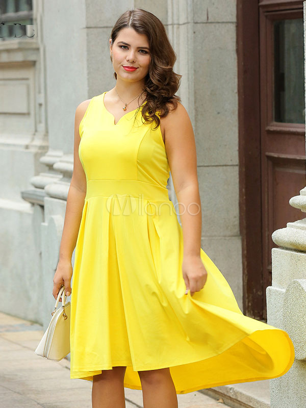 Plus Size Dress Yellow Sleeveless Notched Neck Pleated High Low Formal  Dress For Women