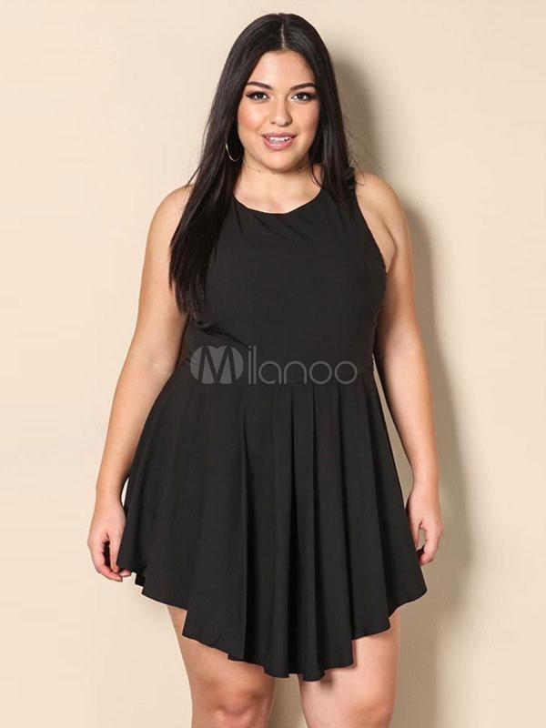 Buy Plus Size Dress Black Round Neck Sleeveless Pleated Backless Skater Dress For Women for $23.99 in Milanoo store