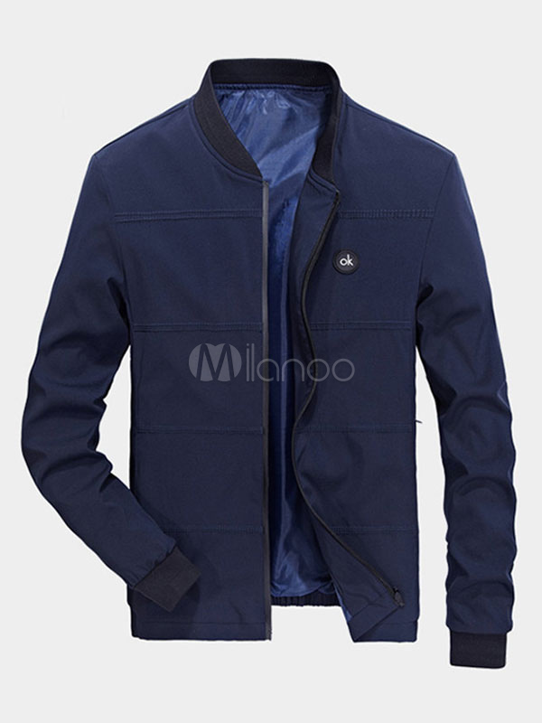 Buy Men Short Jacket Deep Blue Spring Jacket Stand Collar Long Sleeve Zip Up Casual Jacket for $26.99 in Milanoo store