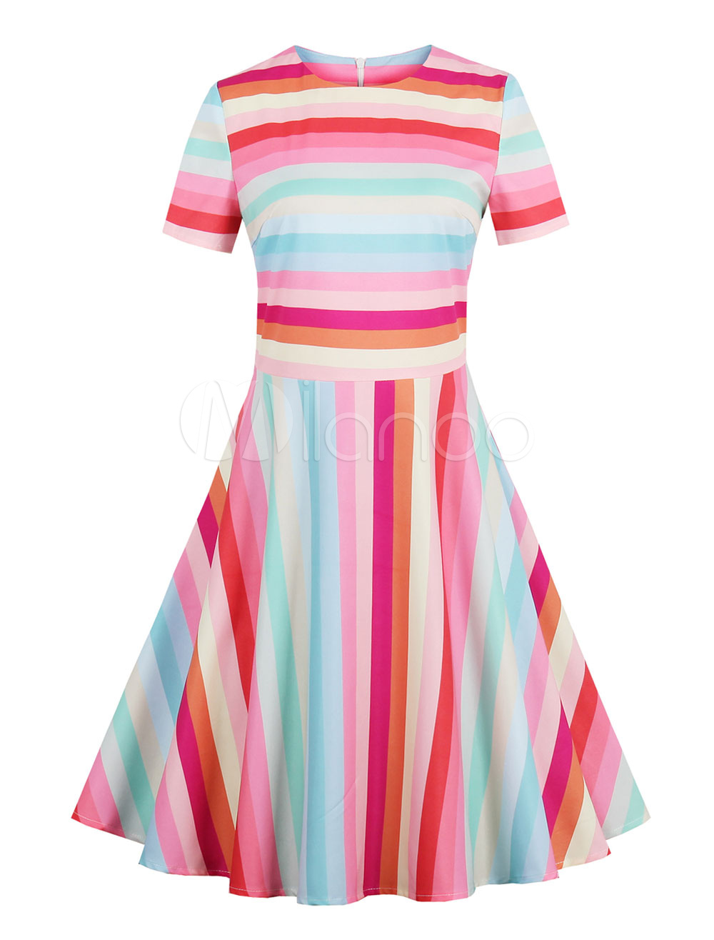 Women Vintage Dress 1950s Striped Short Sleeve Pleated Women Swing Dress