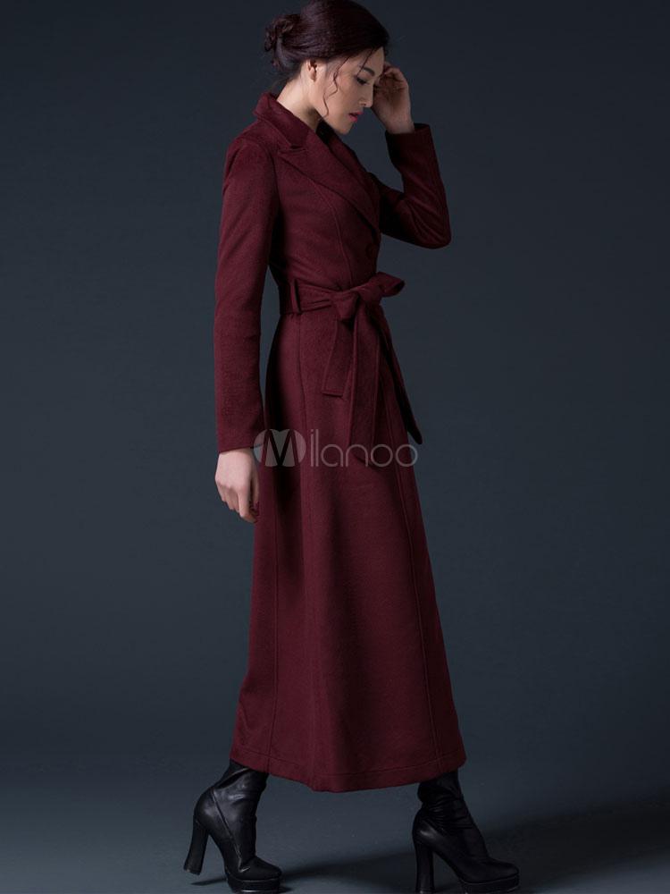 93c62a4479c2 ... Winter Coat Women Burgundy Long Sleeve Notch Collar Sash Reefer Coat-No .5