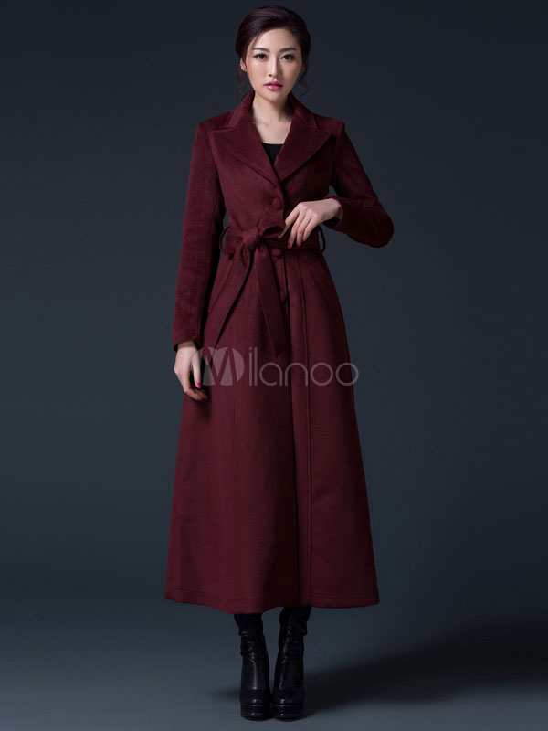 b244646e2c08 Winter Coat Women Burgundy Long Sleeve Notch Collar Sash Reefer Coat-No.1  ...