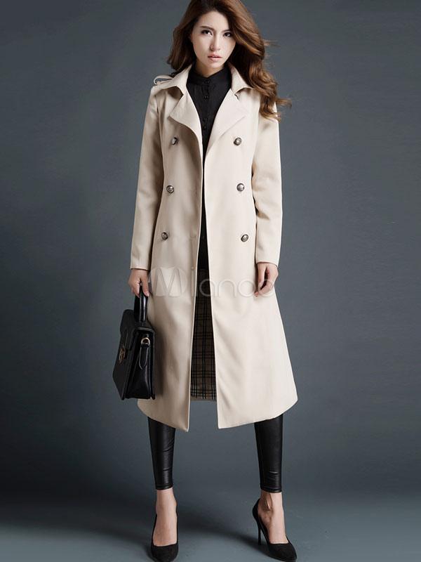 Trench Coat Women Khaki Long Sleeve Turndown Collar Wind Proof Double Breasted Maxi Coat