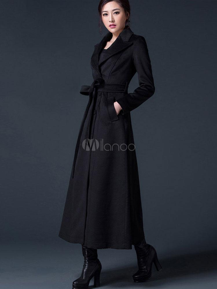 75e47c714afa ... Winter Coat Women Burgundy Long Sleeve Notch Collar Sash Reefer Coat-No.4  ...