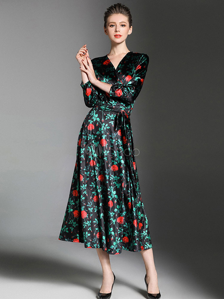 Buy Women Floral Dress Velour Maxi Dress V Neck 3/4 Sleeve Pleated Surplice Long Spring Dress for $46.79 in Milanoo store