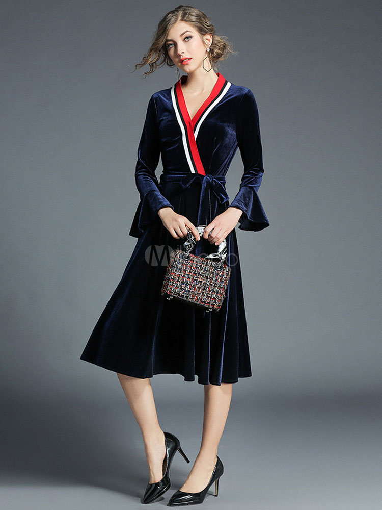 Buy Women Spring Dress Velour V Neck Bell Sleeve Striped Pleated Blue Women Swing Dress for $42.29 in Milanoo store