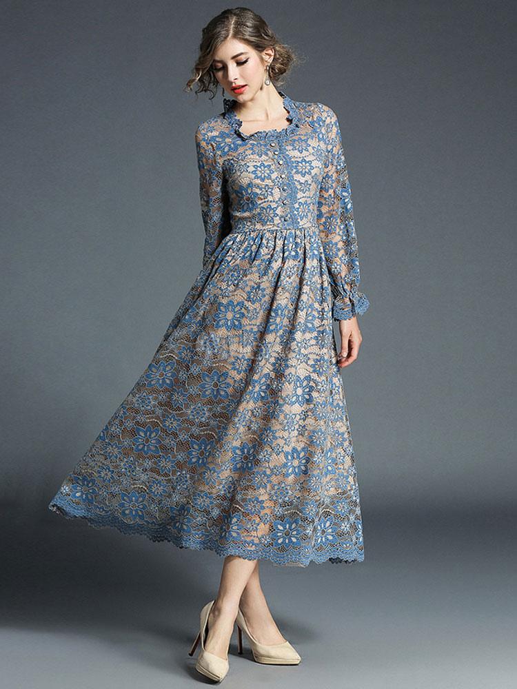 f69ed0657d22 ... Women Lace Dress Frill Pleated Long Sleeve Light Blue Women Spring Dress-No.4  ...