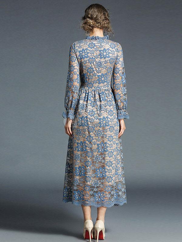 e2cf1e644a93 ... Women Lace Dress Frill Pleated Long Sleeve Light Blue Women Spring Dress -No.5