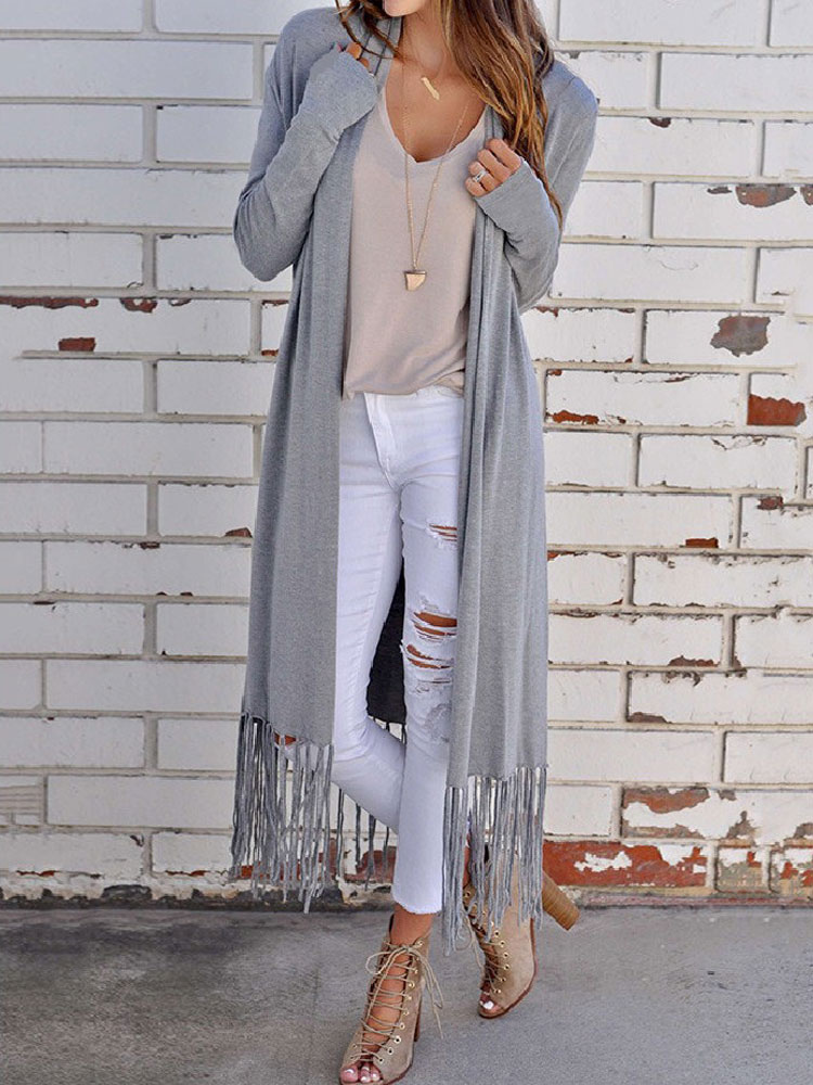 Women Cardigan Sweater Grey Long Sleeve Open Front Sweater With Tassels