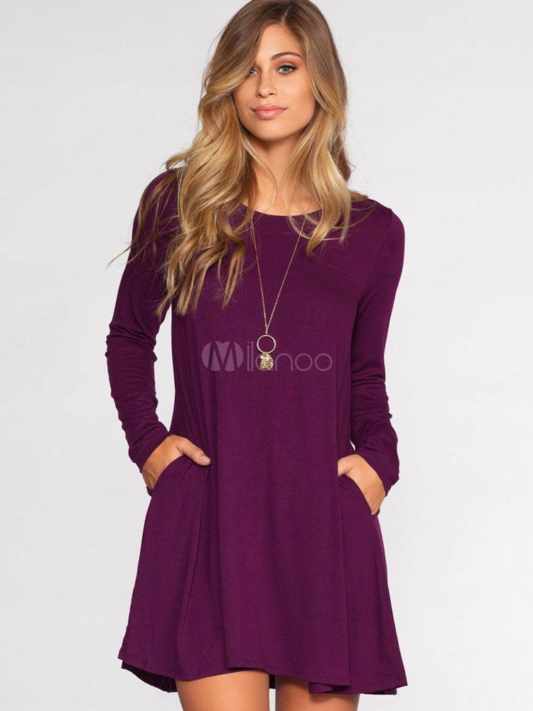 dfacaea6dc9fe Vestido camisero De fibras de algodón estilo street wear con manga larga  con escote redondo Color ...