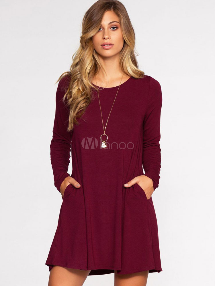 109b69cdf1db Women T Shirt Dress Burgundy Short Dress Round Neck Long Sleeve Shift Dress -No.