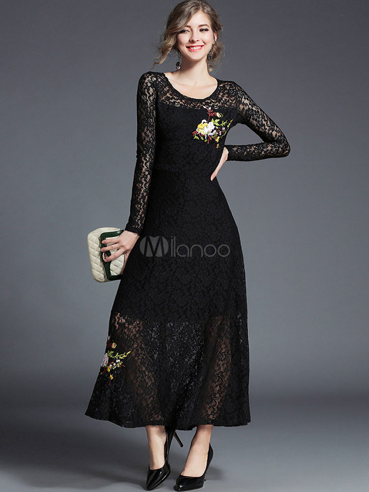 Buy Black Lace Dress Women Maxi Dress Round Neck Long Sleeve Embroidered Long Dress for $42.49 in Milanoo store