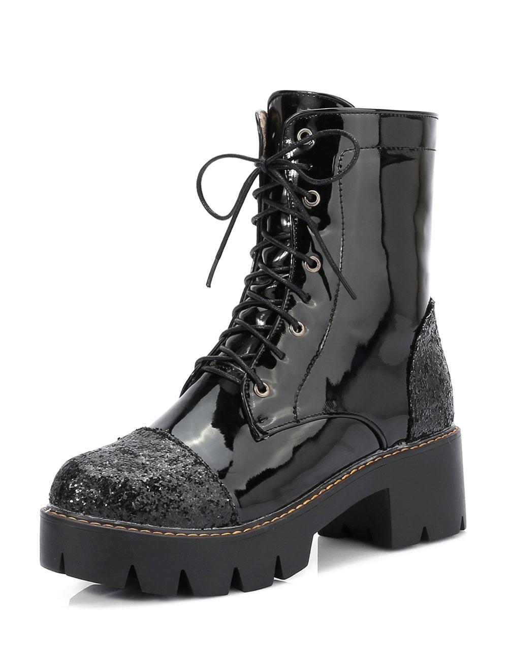 round toe combat boots