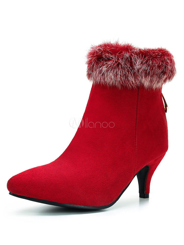 Buy Red Winter Boots Kitten Heel Ankle Boots Pointed Toe Fur Detail Suede Boots For Women for $37.99 in Milanoo store